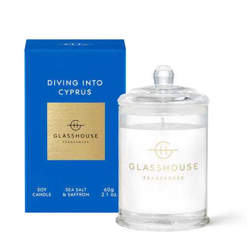 GLASSHOUSE FRAGRANCES 60G SOY CANDLE - DIVING INTO CYPRUS