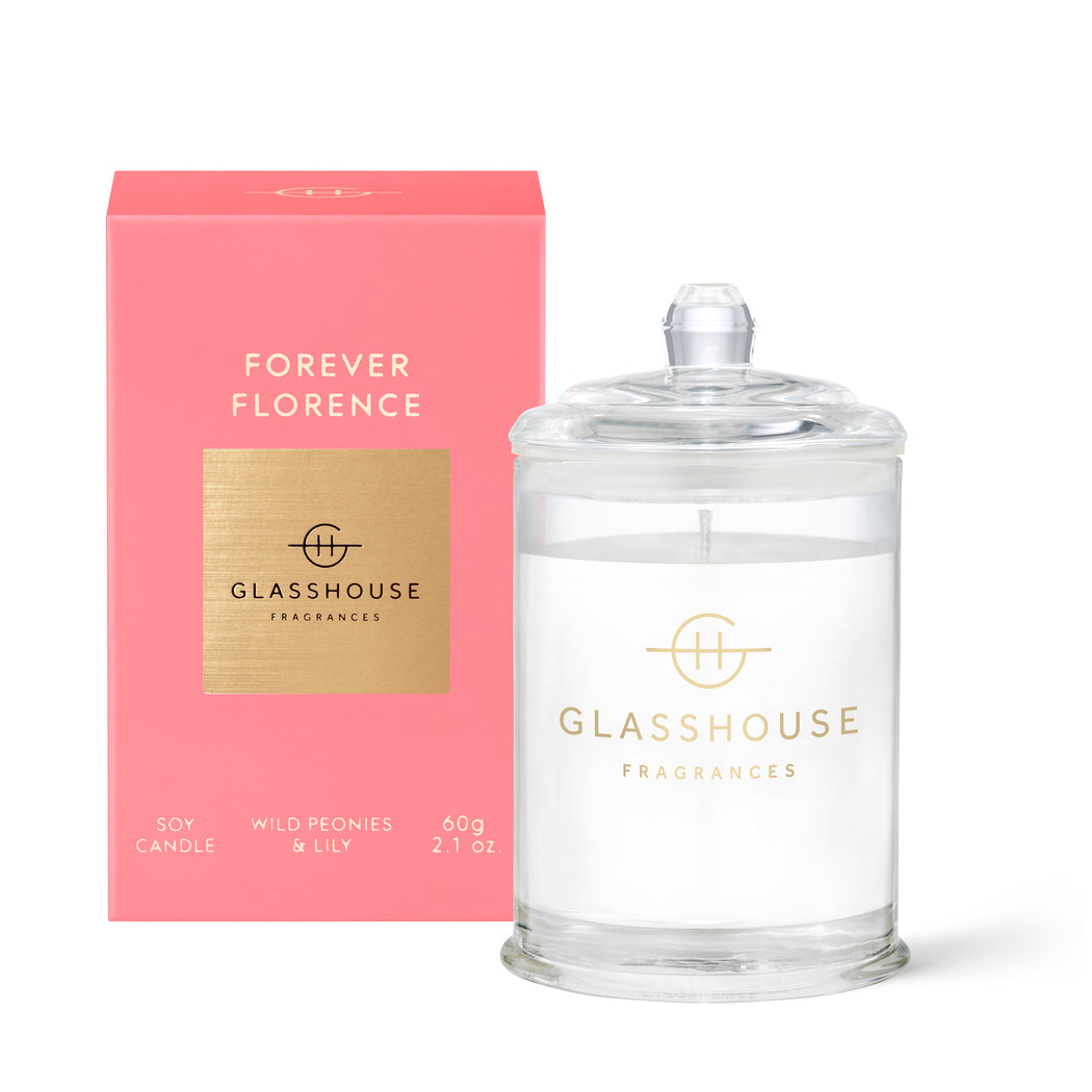 GLASSHOUSE FRAGRANCES 60G SOY CANDLE - FOREVER FLORENCE