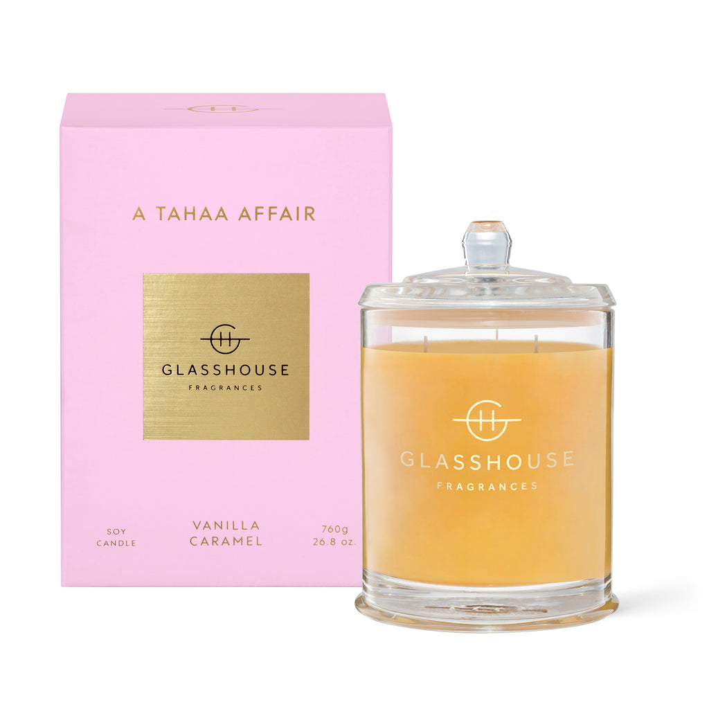 GLASSHOUSE FRAGRANCES 760G SOY CANDLE - A TAHAA AFFAIR