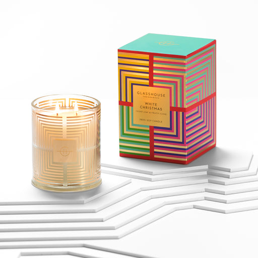 GLASSHOUSE FRAGRANCES LARGE CANDLE 380G - WHITE CHRISTMAS (LIMITED EDITION)