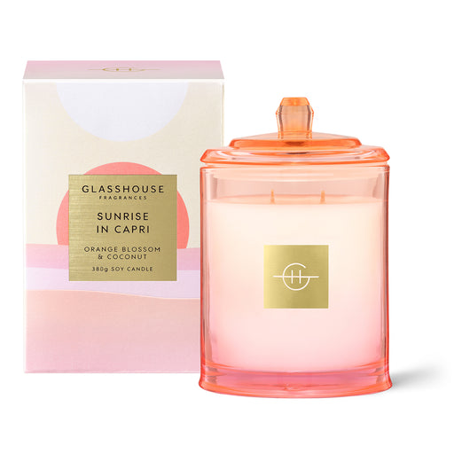 GLASSHOUSE FRAGRANCES 380G SOY CANDLE - SUNRISE IN CAPRI (LIMITED EDITION)
