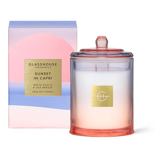 GLASSHOUSE FRAGRANCES 380G SOY CANDLE - SUNSET IN CAPRI (LIMITED EDITION)
