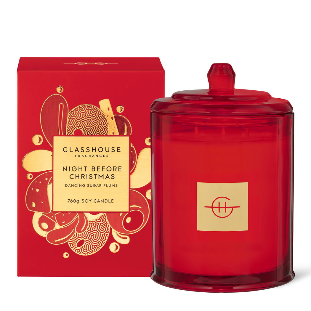 GLASSHOUSE FRAGRANCES SOY CANDLE 760G - NIGHT BEFORE CHRISTMAS (LIMITED EDITION)