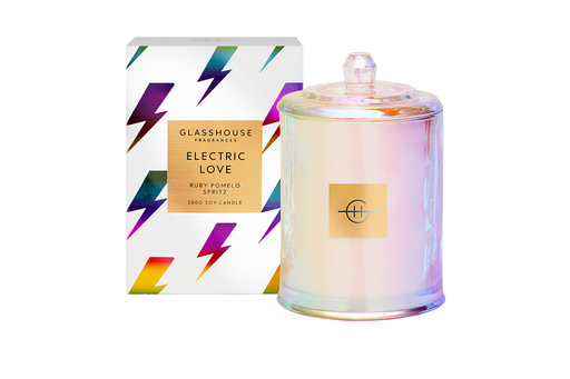GLASSHOUSE FRAGRANCES LARGE CANDLE 380G - ELECTRIC LOVE (LIMITED EDITION)