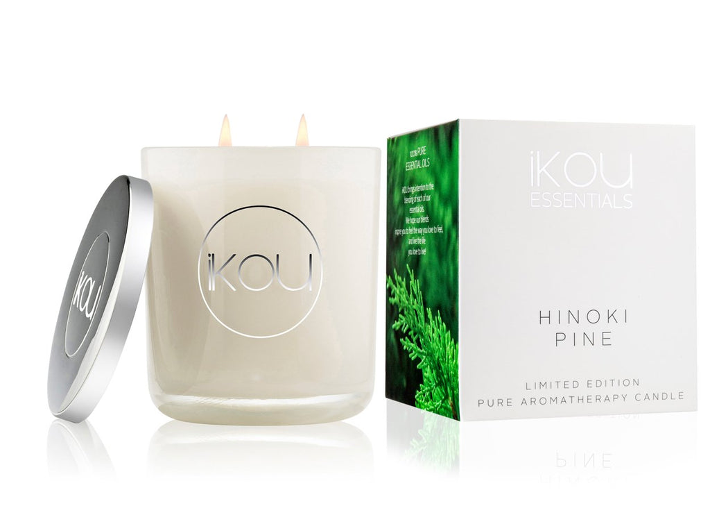 iKOU Essentials Large Glass Candle 450g - Hinoki Pine (Limited Edition)