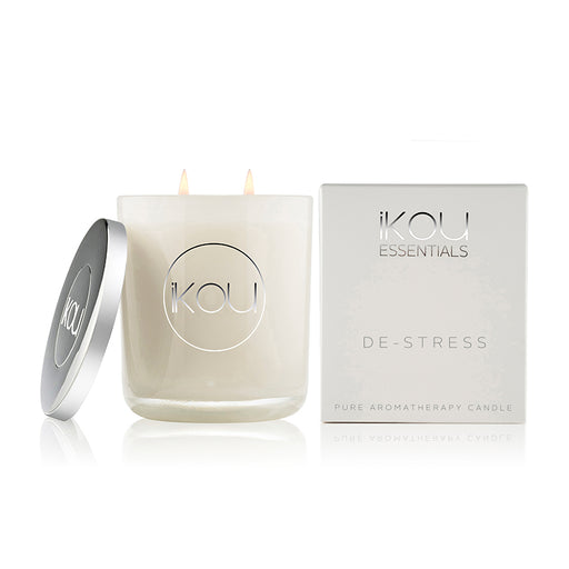 iKOU ESSENTIALS LARGE GLASS CANDLE 450G - DE-STRESS