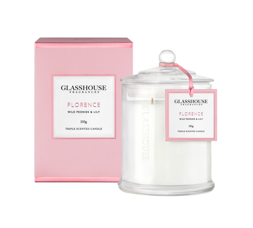 GLASSHOUSE FRAGRANCES LARGE CANDLE 350G - FLORENCE