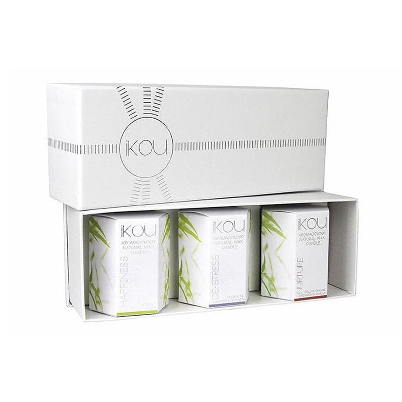 iKOU AROMACOLOGY SMALL GLASS CANDLE TRIO