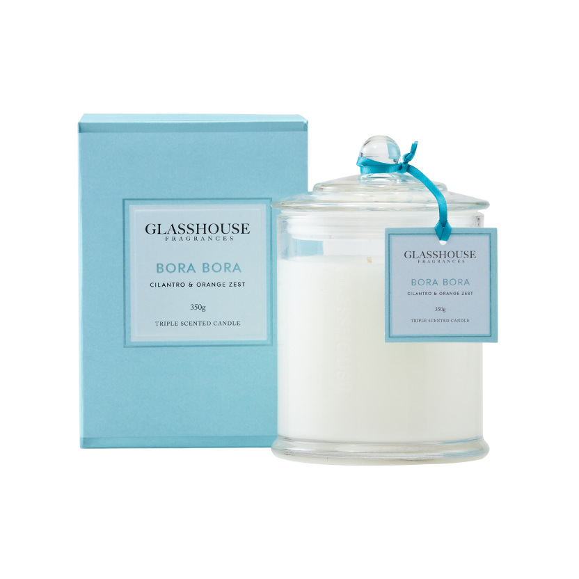 GLASSHOUSE FRAGRANCES LARGE CANDLE 350G - BORA BORA