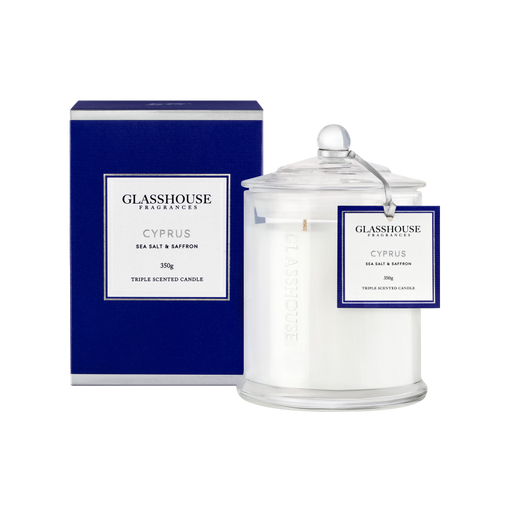 GLASSHOUSE FRAGRANCES LARGE CANDLE 350G - CYPRUS