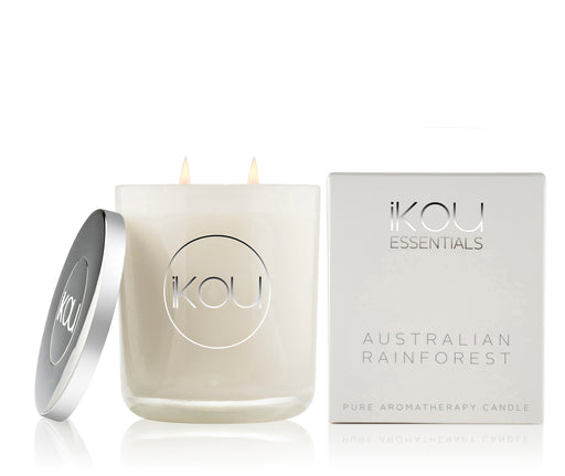 iKOU ESSENTIALS LARGE GLASS CANDLE 450G - AUSTRALIAN RAINFOREST