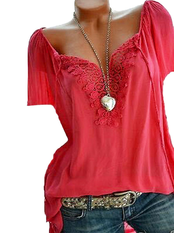Lace Crochet Short Sleeve Pure Color V-neck Shirts