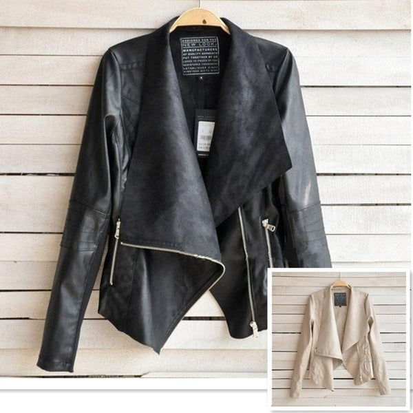Women Moto PU Leather Lapel Blazer Jacket