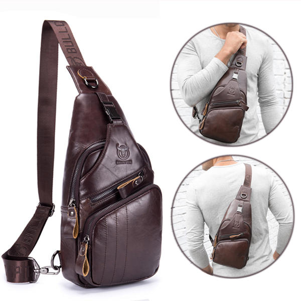 50dc50b2c7c5 ... Men Leather Crossbody Bag Large Capacity Chest Bag Shoulder Bag Fits  ipad up to 10.5in ...