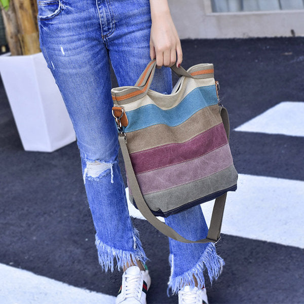 Canvas Contrast Color Striped Handbag Shoulder Bags Crossbody Bags For Women