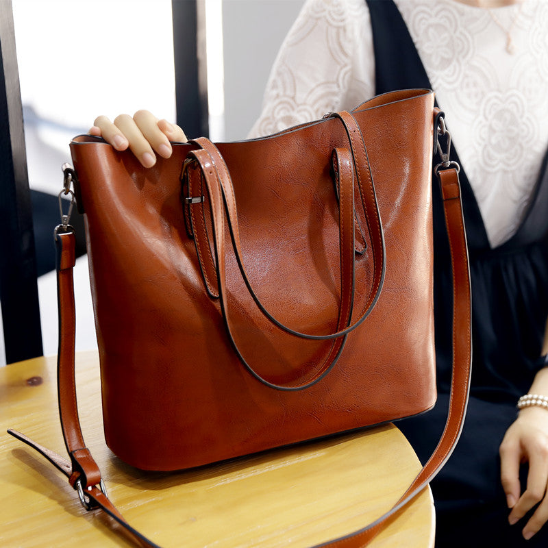 Oil Wax Leather Tote Bag Retro Shoulder Bags Handbags