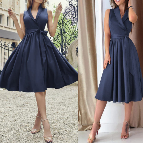 Sexy V-Neck Sleeveless Belted Pure Color Dresses