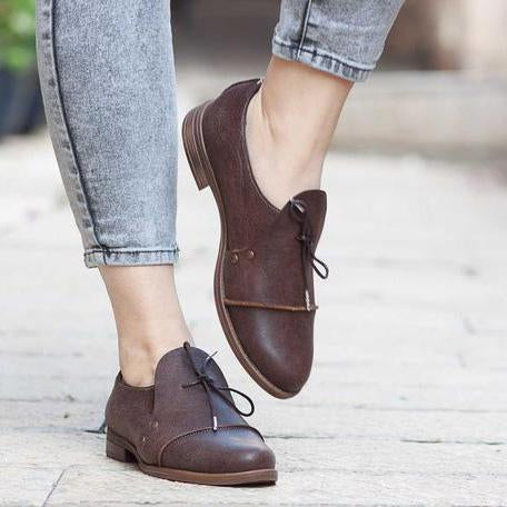 Casual Low Heel Lace-up Oxford Shoes