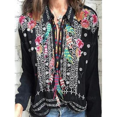 Bohemian Floral Collar Long Sleeve Blouses