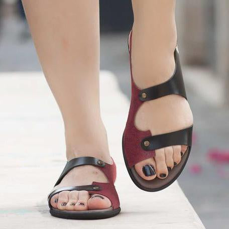 Summer Colorblock Open Toe Buckle Sandals