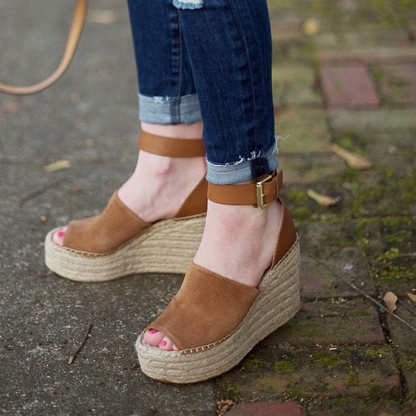 Bohemian Women Sandals Ankle Strap Straw Platform Wedges For Female Shoes Flock High Heels Cover Heel Sandal