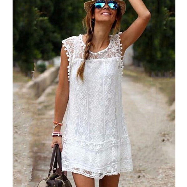 Summer Dress 2018 Sexy Women Casual Sleeveless Beach Short Dress Tassel Solid White Mini Lace Dress Vestidos Plus Size