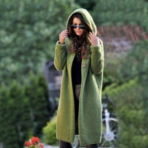 Fashion Hooded Long Cardigan Warm Sweater Long Coat