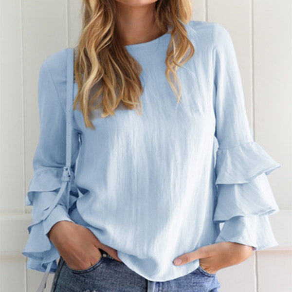 Women Long Sleeve Crew Neck Casual Blouse