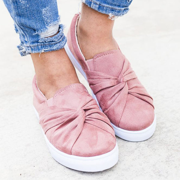 Faux Suede Knot Front Slip-On Sneakers