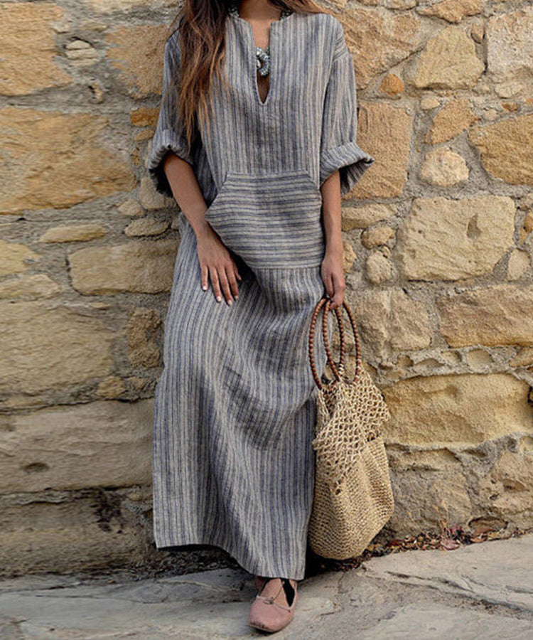 Plus Size 5XL Maxi Dresses Women Retro Casual Loose Long Dress Cotton Linen Striped Long Sleeve Ankle Length Dress Oversized