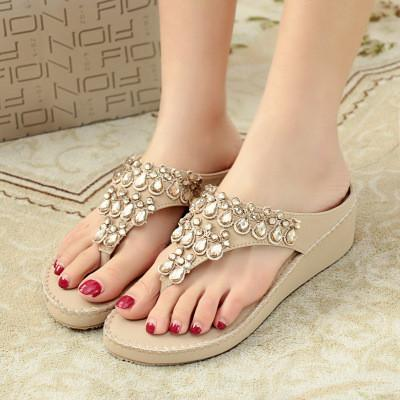 b107792037f7 Summer Women Bohemian Crystal Sandals Flipflops Casual Cosy Leather Shoes