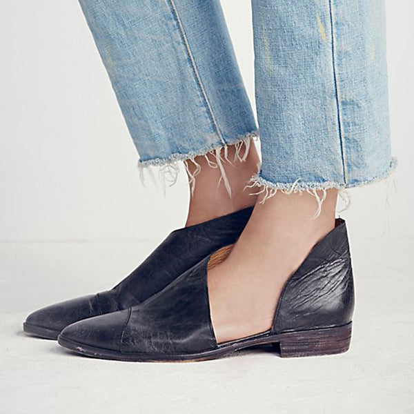Large Size Pointed Toe Flat Loafers