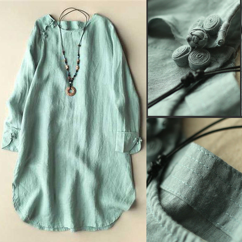 Solid Color Irregular Frog Button Long Sleeve Vintage Blouses