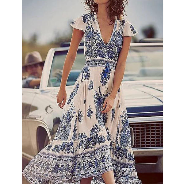 Short Sleeve V neck Swing Slit Print Dresses