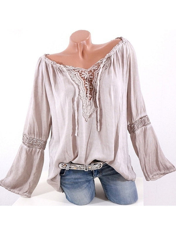 Solid Casual Long Sleeve V neck Shirts