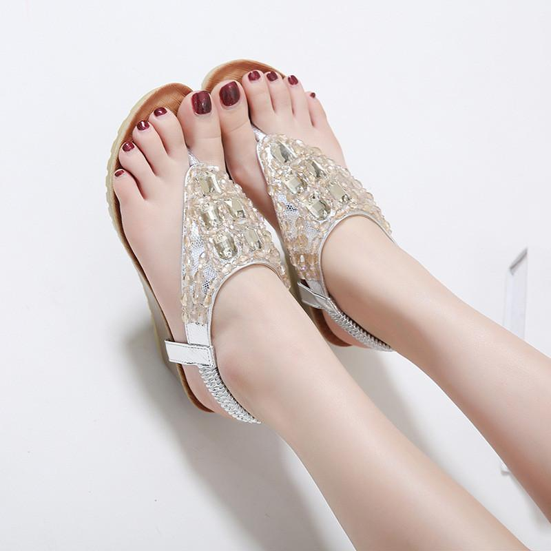 9a8609641cc3 Bohemia Crytal Glitter Leather Wedge Sandals