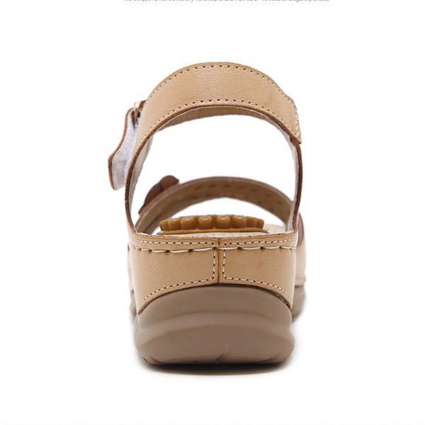63a03b7f768c Retro Ethnic Trend Comfy Massage Soles Flower Wedge Sandals ... sale ...