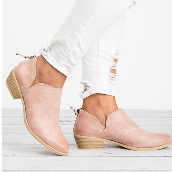 Casual Daily Chunky Heel Shoes Casual Boots Female Non-slip Cute Short Bootie
