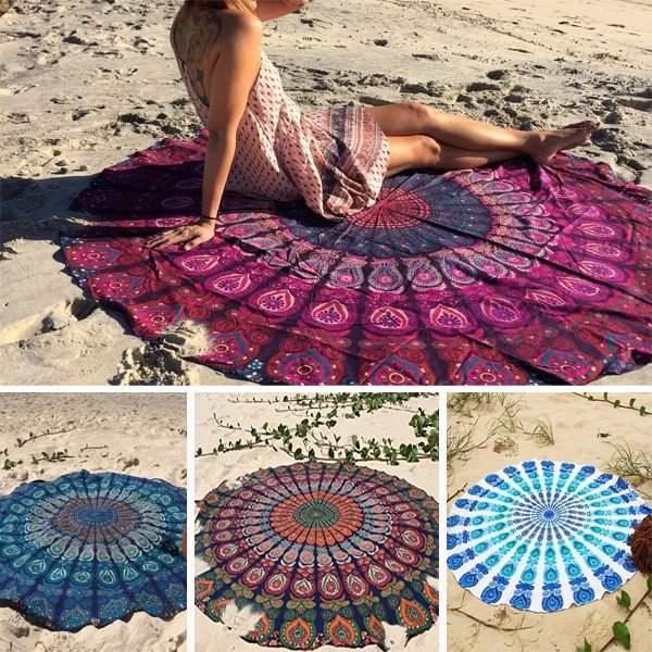 Bohemian Style Thin Chiffon Beach Yoga Towel Mandala Round Bed Sheet Tapestry Tablecloth Silk Scaf