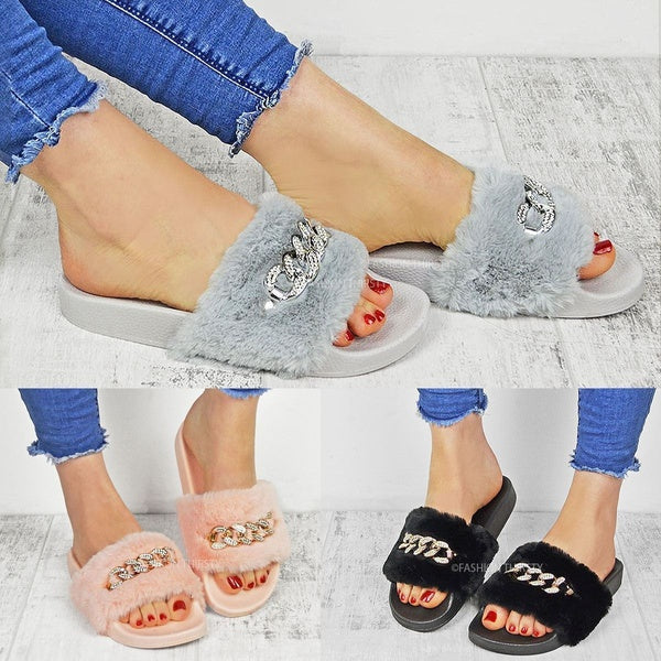 Fashion Womens Diamante Chain Rubber Mule Fur Sandals Slippers Shoes