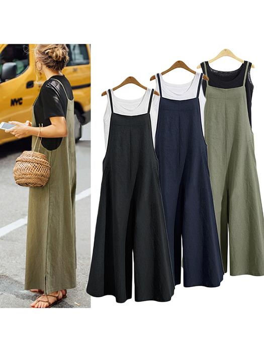 Casual Loose Solid Tank Jumpsuit