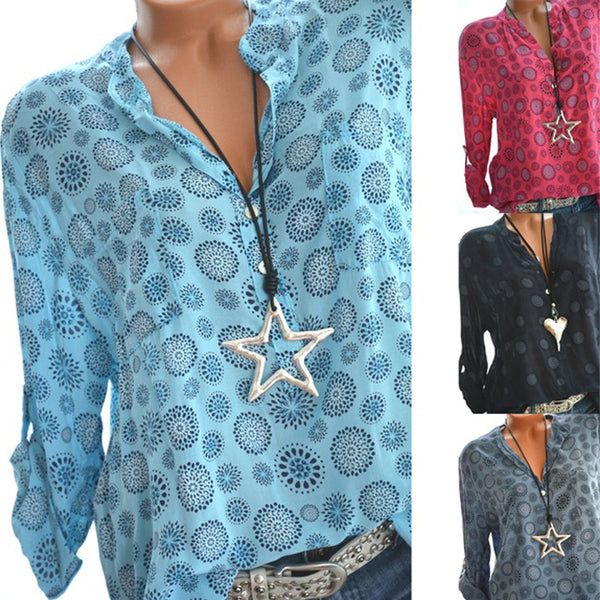 Plus Size New Fashion Ladies Tunic Mandalas Shirt Long Sleeve V-neck Loose Causal Tops Blouse
