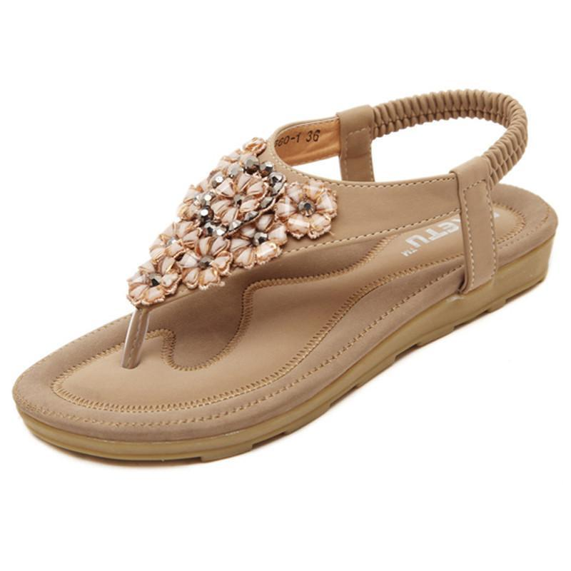 987f641fbef7 On sale. Summer Women Flat Sandals Flower Bohemian Casual Outdoor  Comfortable Leather Shoes