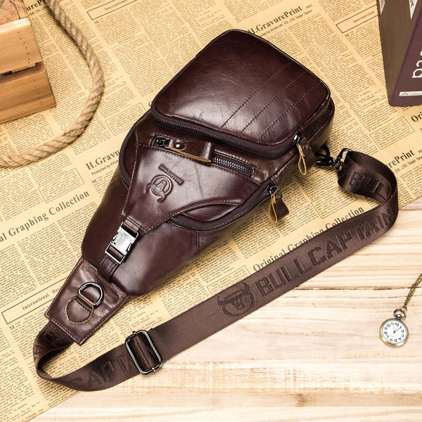 185397a2a1d5 Men Leather Crossbody Bag Large Capacity Chest Bag Shoulder Bag Fits ipad  up to 10.5in ...