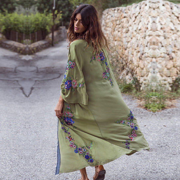 Embroidered Long-sleeved  Cardigans Dress