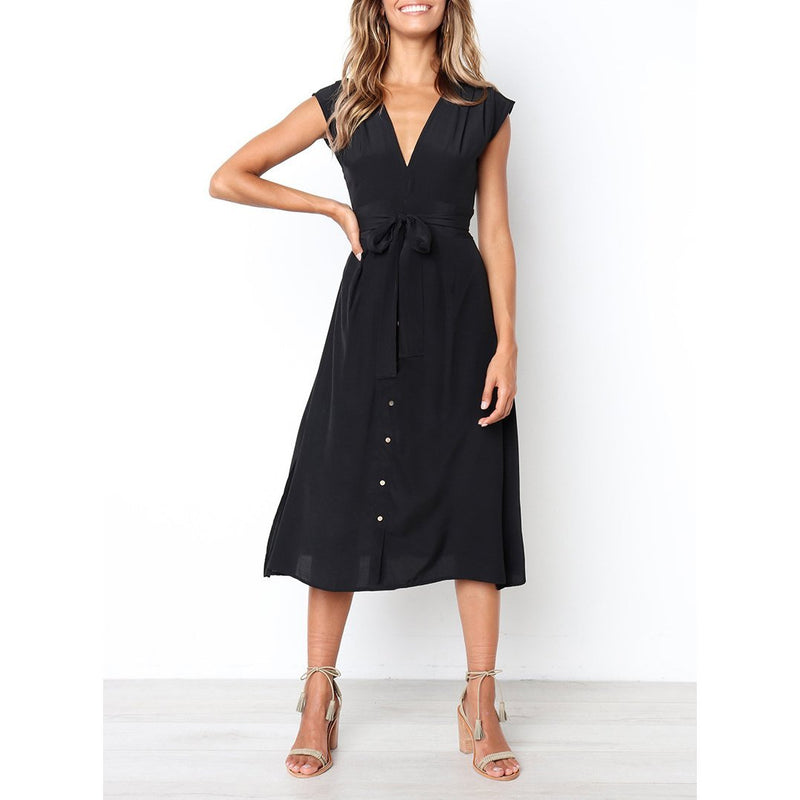Women's Sexy V-neck Buttoned Dress