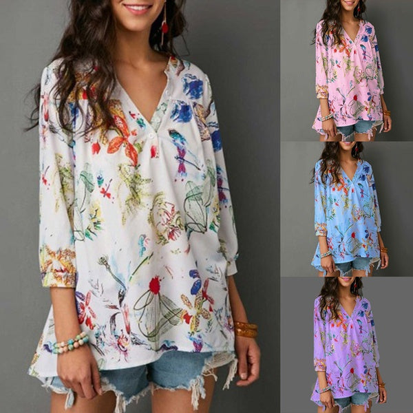 Chiffon Shirt Casual Floral Long Sleeved Shirts For Women Loose Plus Size Tops