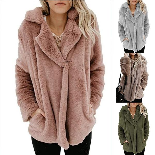 Fashion Warm Double-sided Plush Solid Color Coats