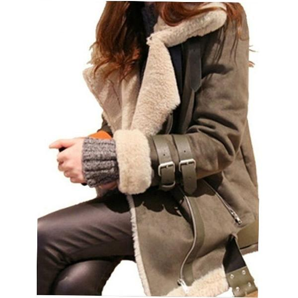 Fashion Collar Zipper Pockets Thick Coat