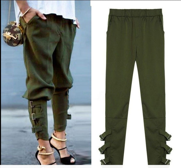 Casual Loose Pockets Elastic Waist Pants Leisure